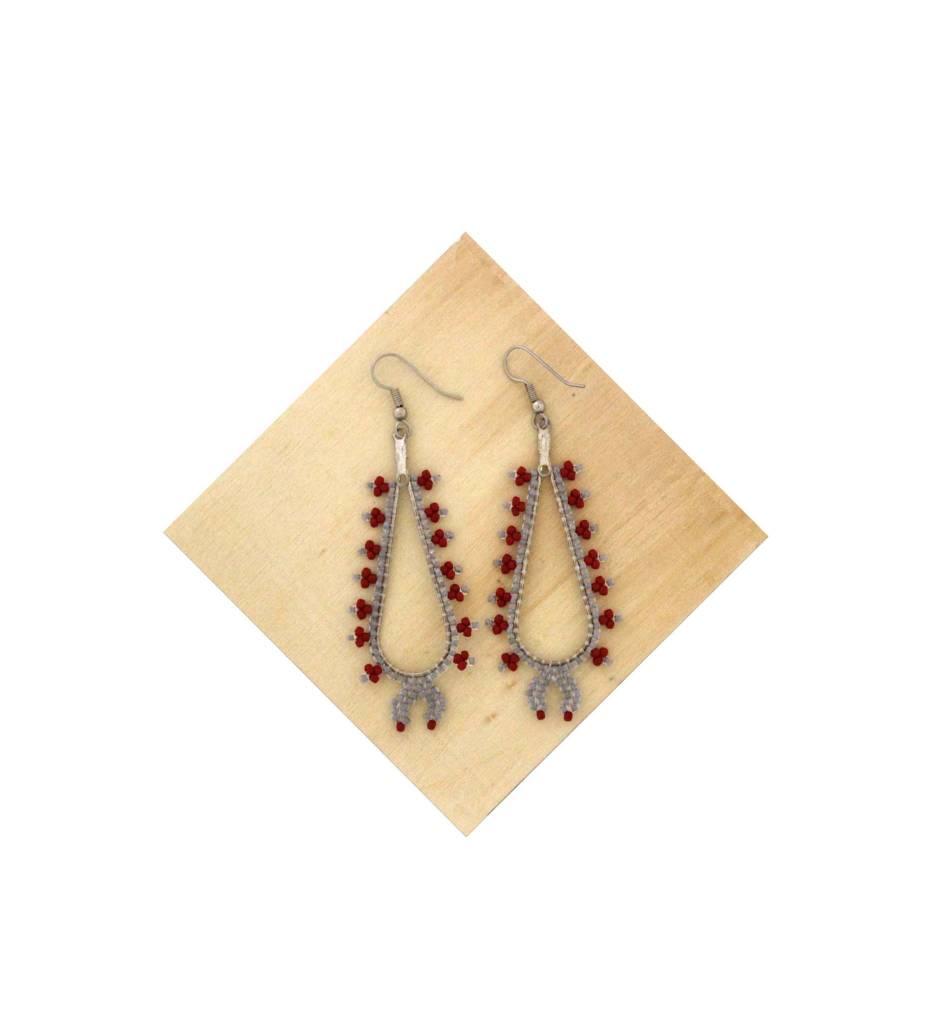 *AB Silver & Red Long Hoop Earrings