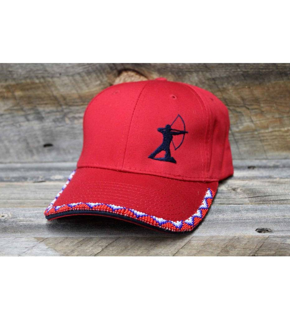 """SL Beaded """"Red Warrior"""" Red Cap"""