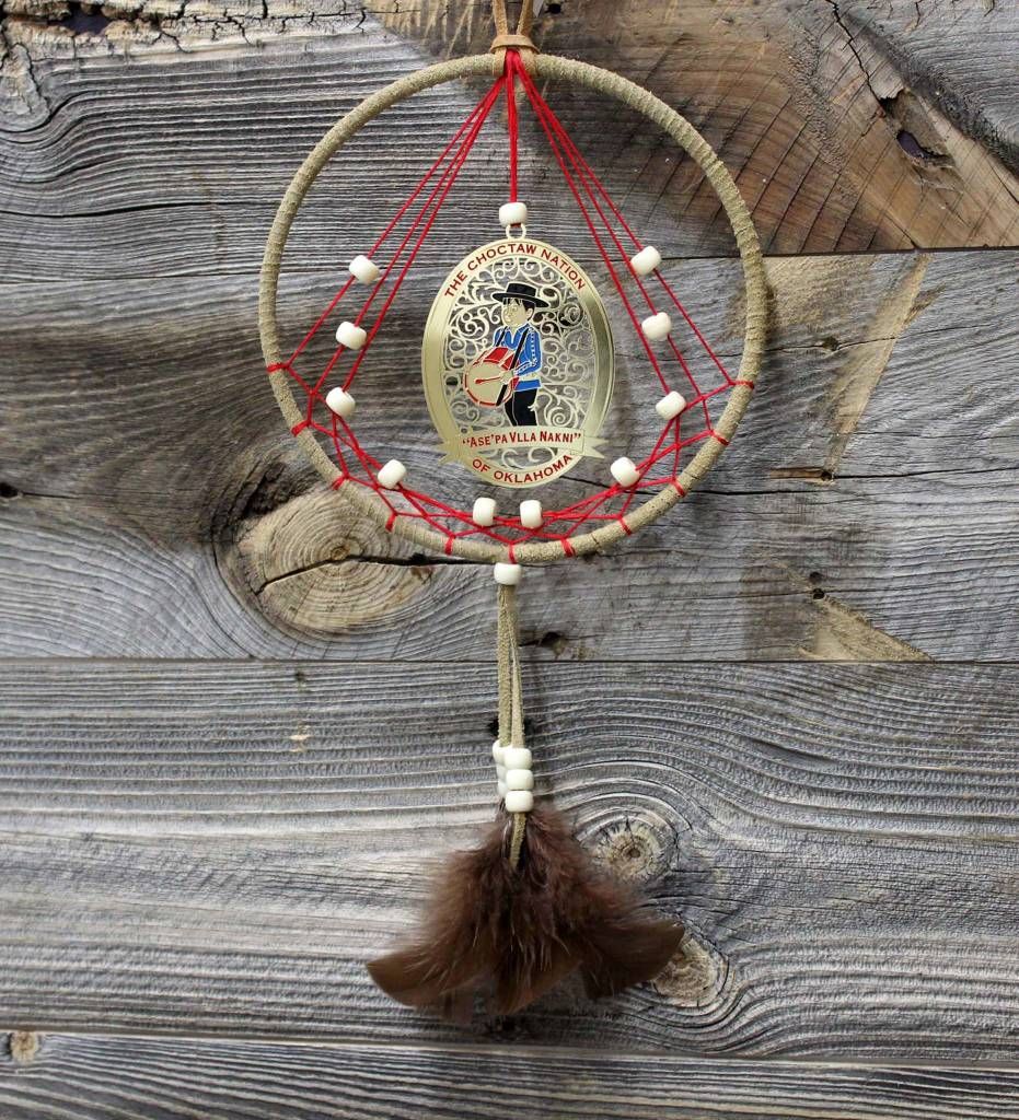 "BD 6"" Tan with Red Web & Drummer Boy Ornament Dreamcatcher"