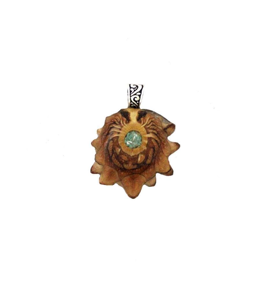 *ZM Medium Pine Cone, Turquoise & Mother of Pearl Pendant