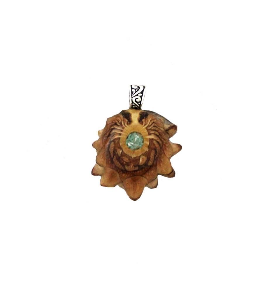 *ZM Medium Pine Cone, Turquoise & Mother of Pearl Pendant