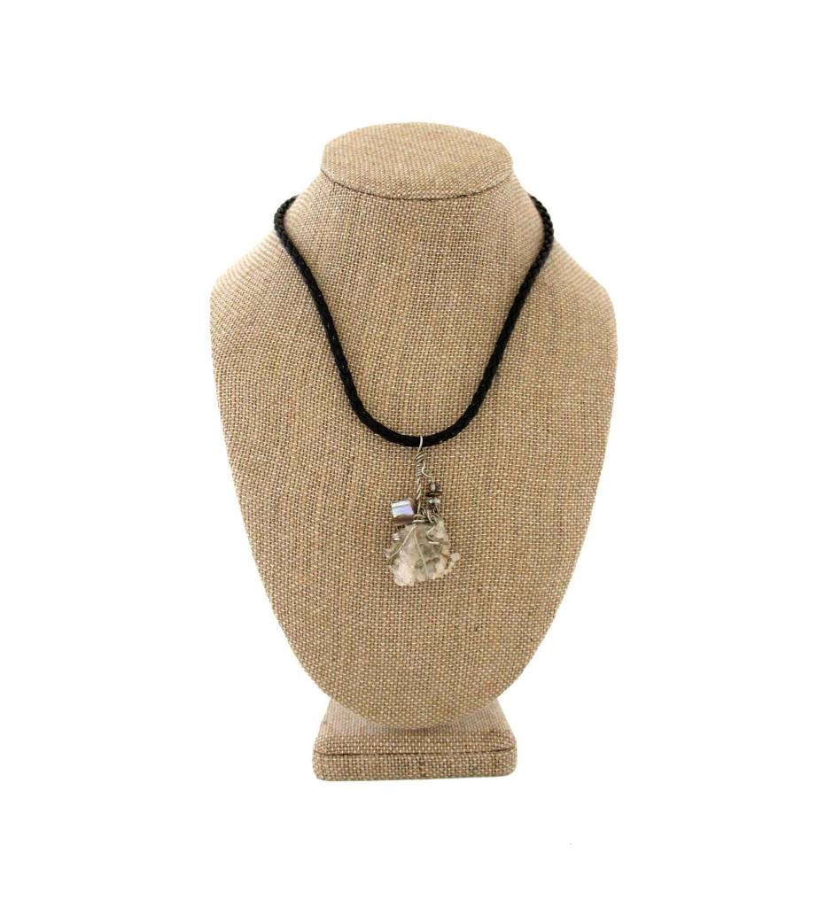 *JA Stone Wrapped with Silver Wire & Leather Necklace