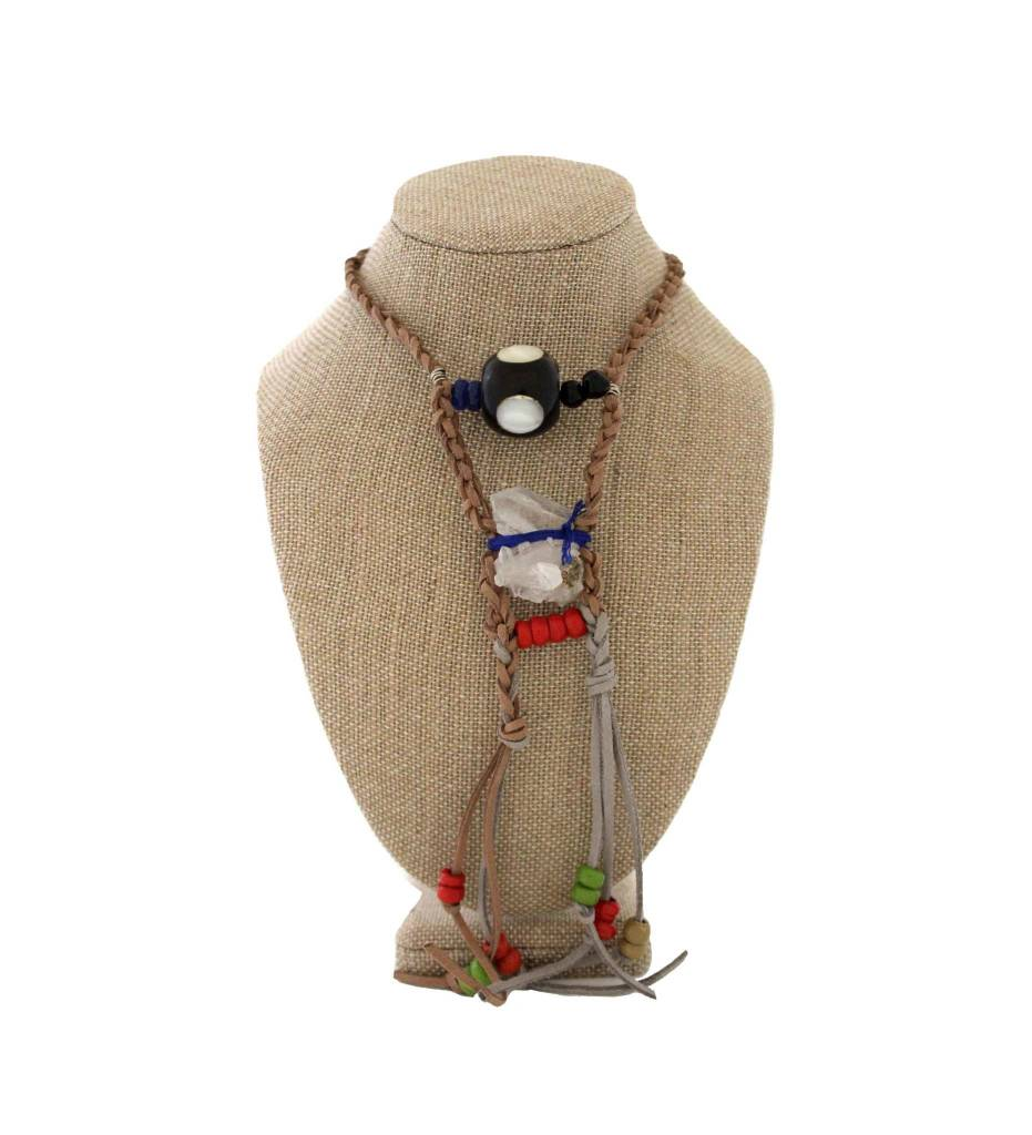*JA Braided Suede Necklace with Crystal, Black Ball and Beads