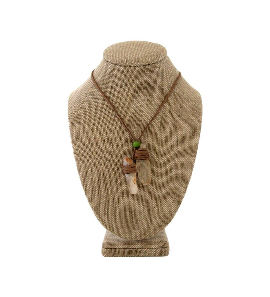 *JA 2 Crystal Rocks with Suede Necklace