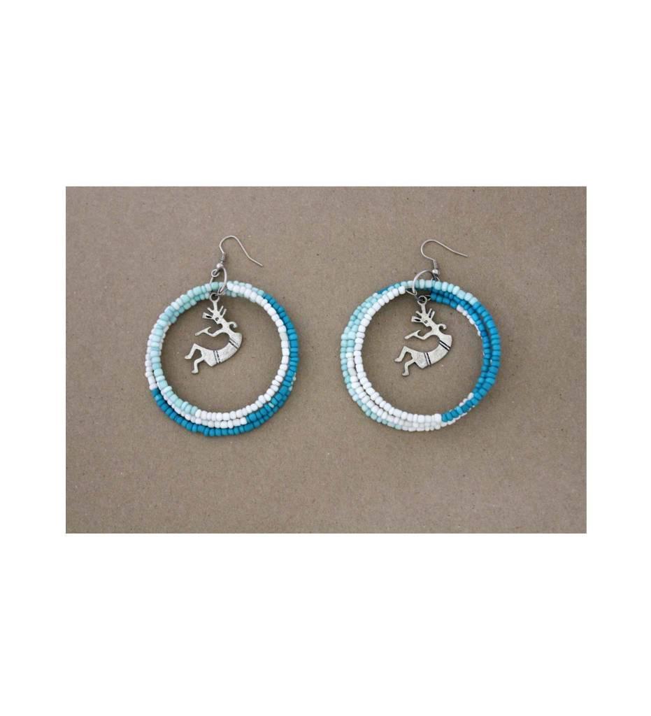 *JA Green, Blue & White Round Beaded Kokopelli Earrings