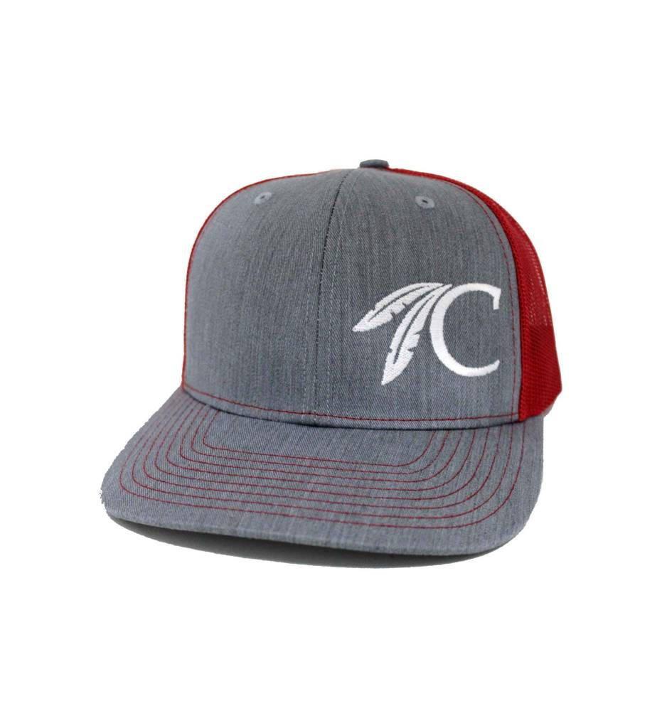 "Choctaw ""C"" Cap  Gray & Red"