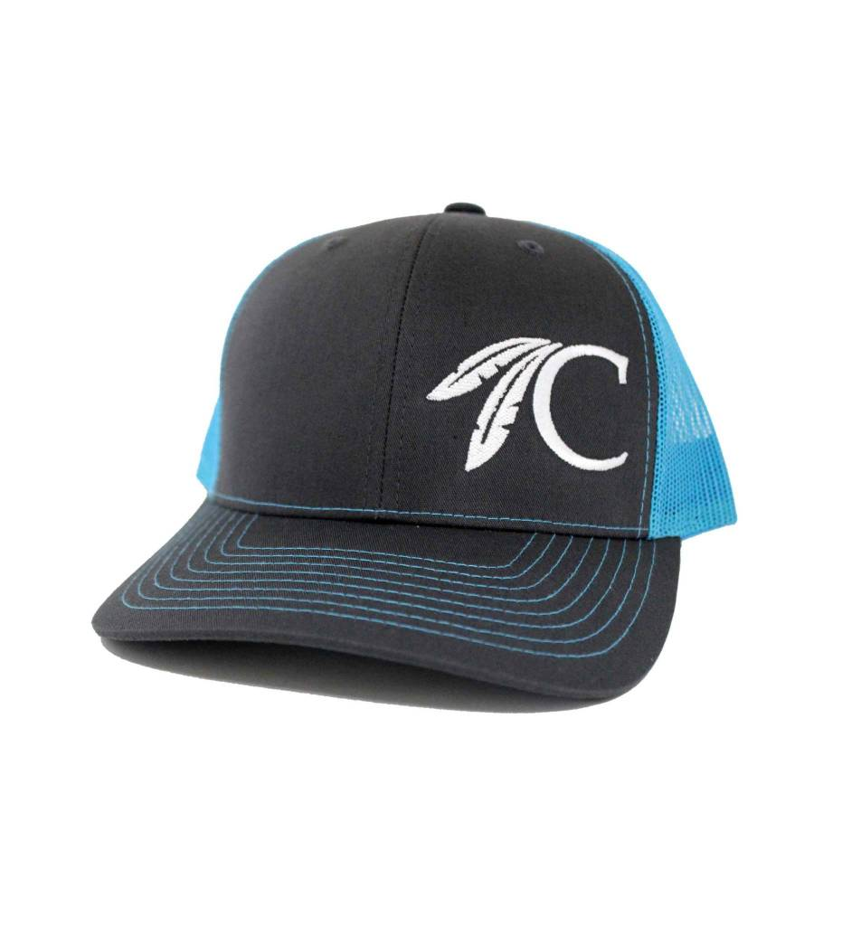"""Choctaw """"C"""" Cap Charcoal & Turquoise"""