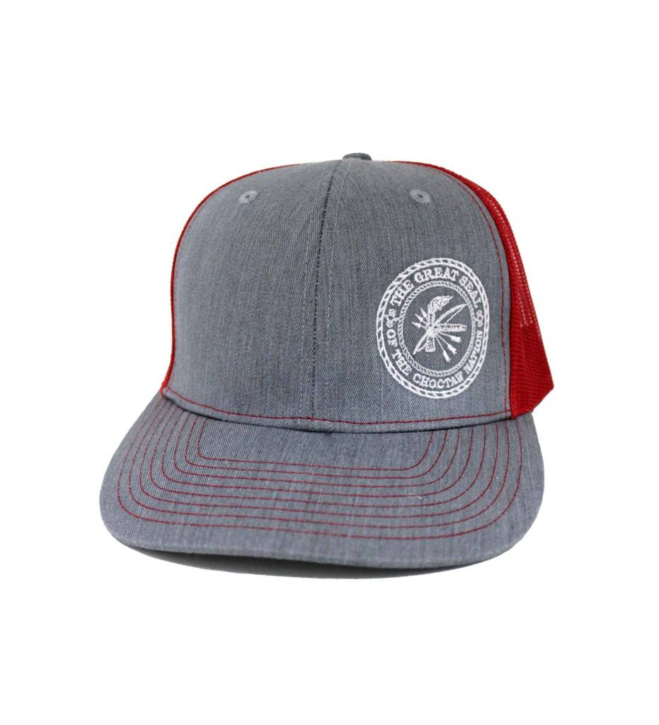 """Choctaw """"SEAL"""" Cap Gray & Red"""
