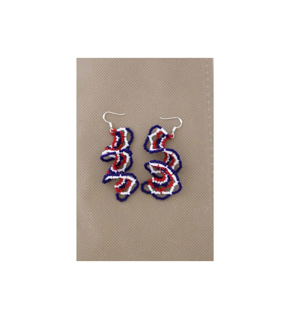 *BG Red, White, Blue Spiral Beaded Earrings
