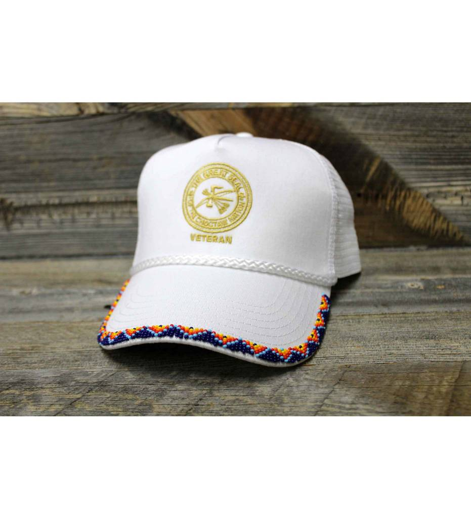 SL White Veteran Beaded Cap with Navy Beads