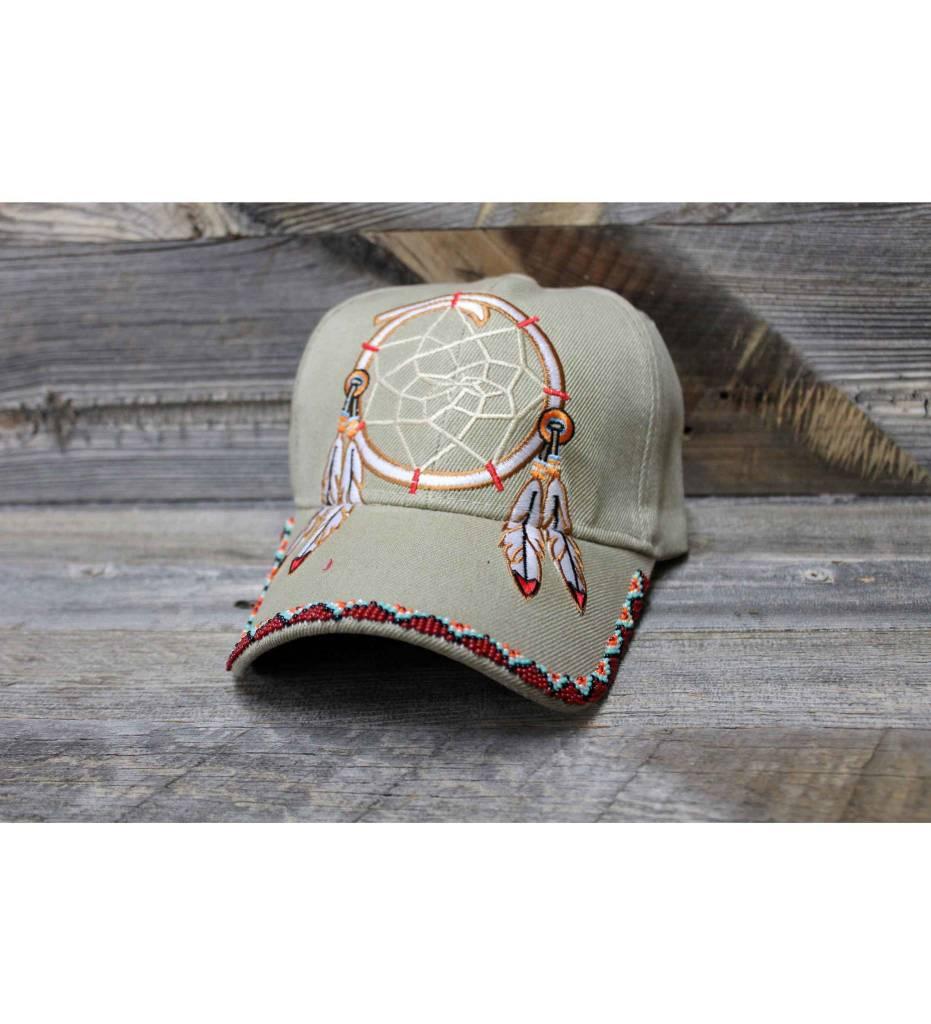 SL Beaded Maroon Beads Dreamcatcher Khaki Cap
