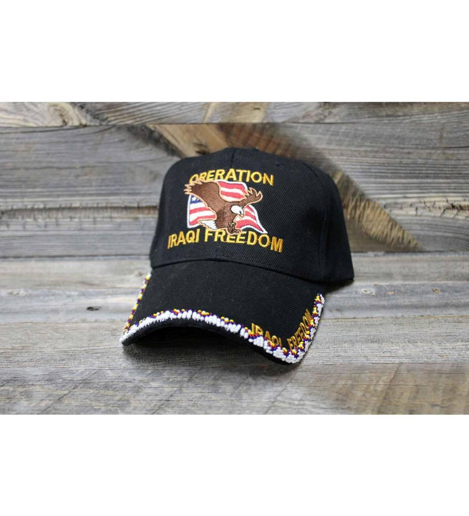"SL Beaded White ""Iraqi Freedom"" Black Cap"