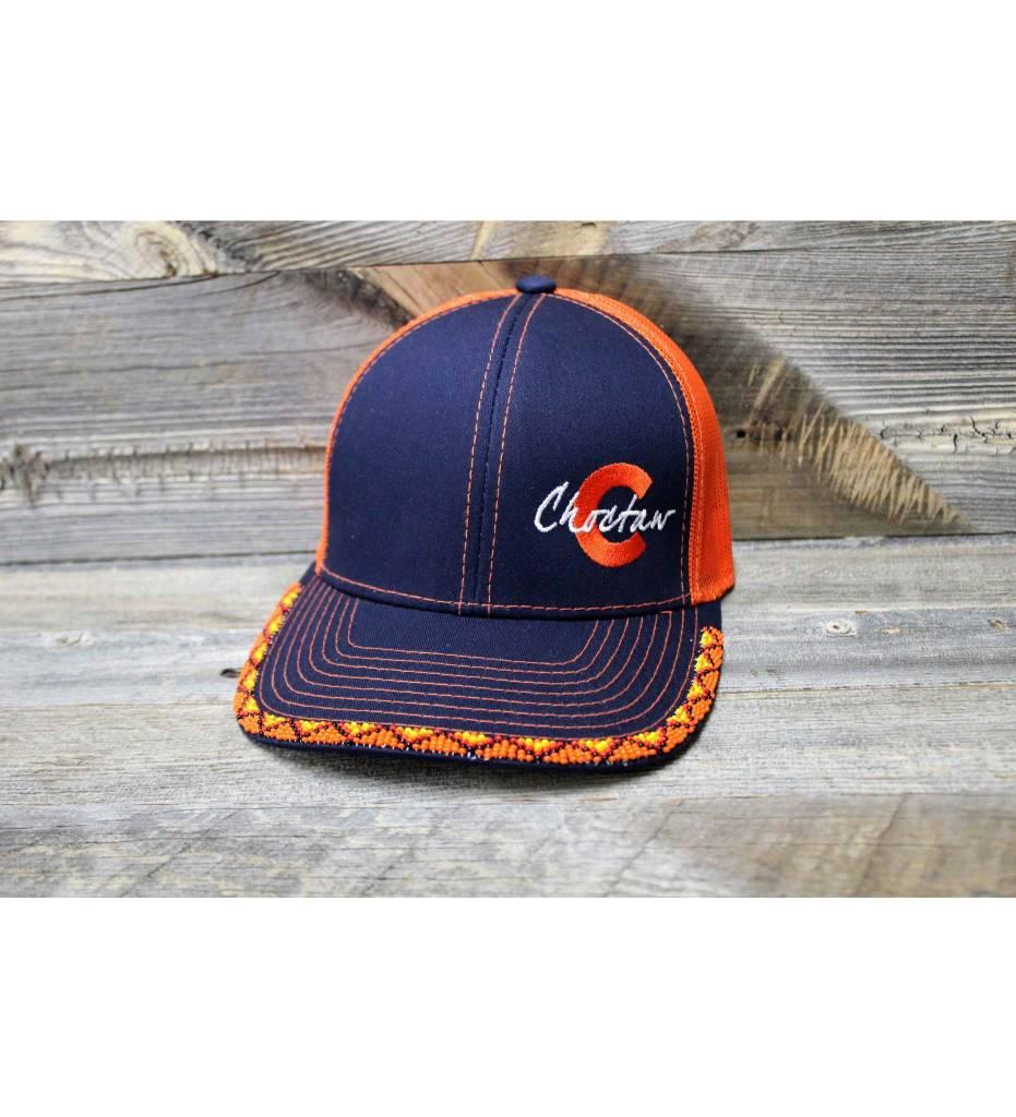 """SL Orange Beaded """"Choctaw C"""" Cap"""