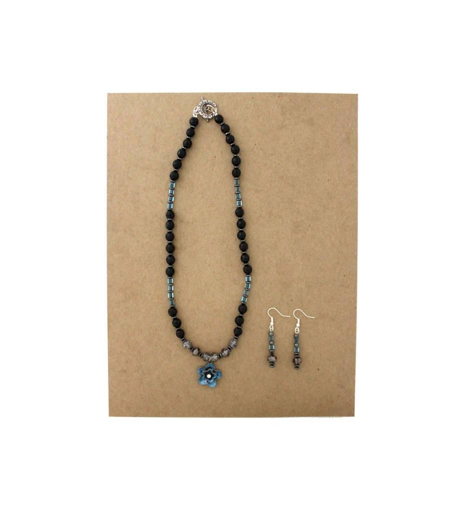 *JM Black & Blue Beads & Floral Pendant Necklace/Earrings Set #18512