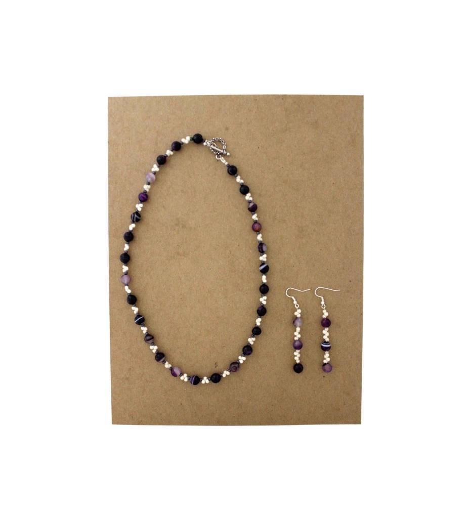 *JM Amethyst & Pearl Necklace/Earrings Set #18509A