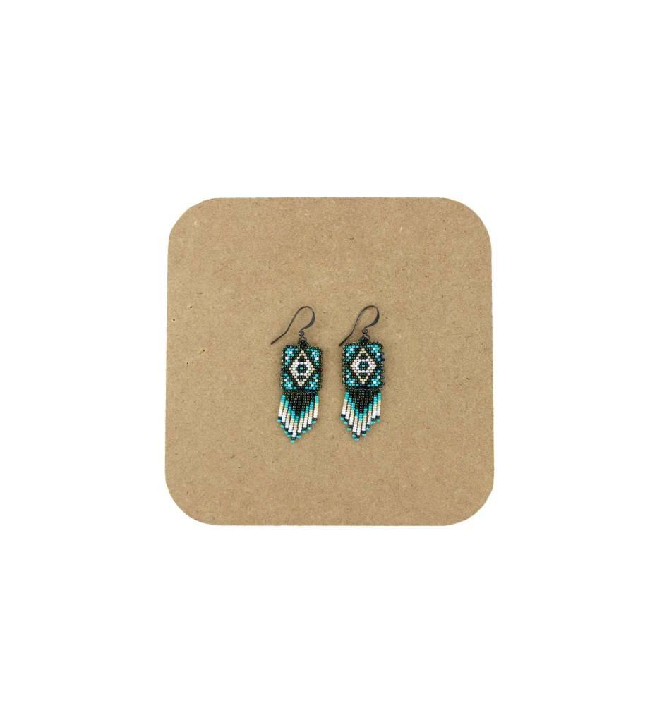 *AB Green, White, Tan Diamond Shape Beaded Earrings