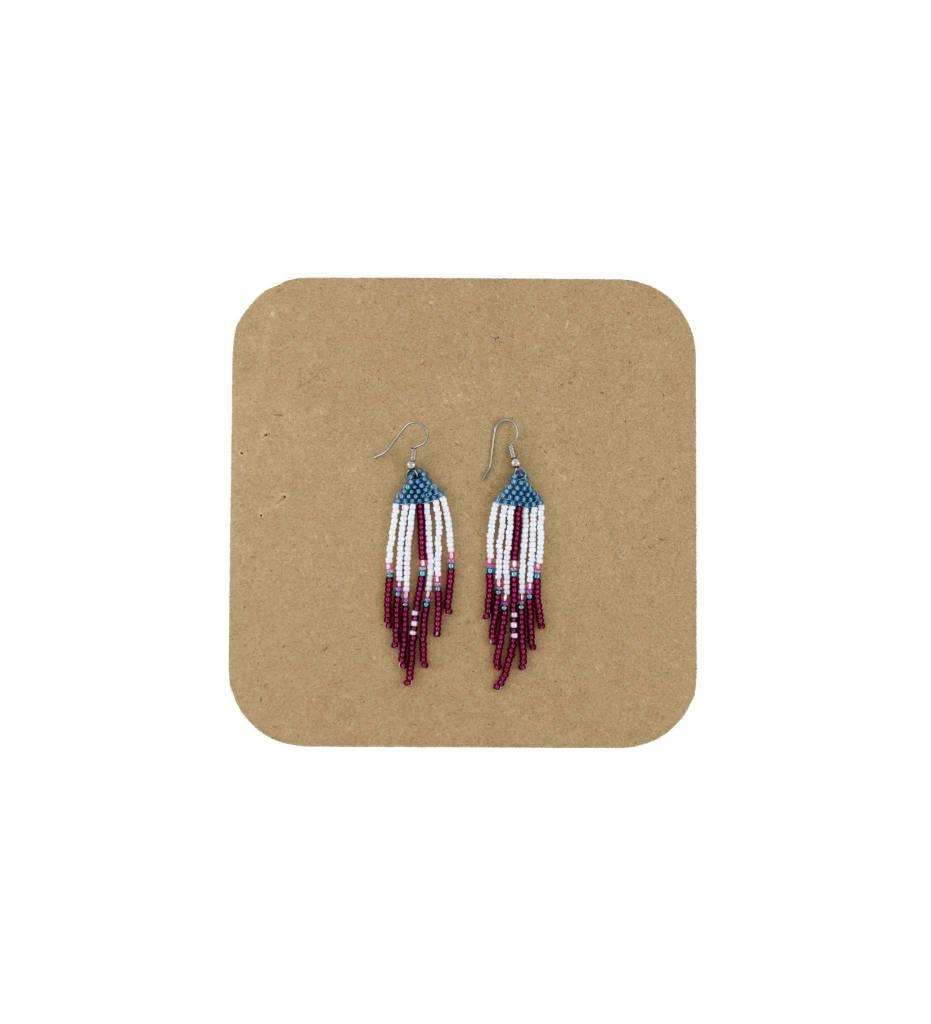 *AB Blue, White, Red, Long Fringes Beaded Earrings