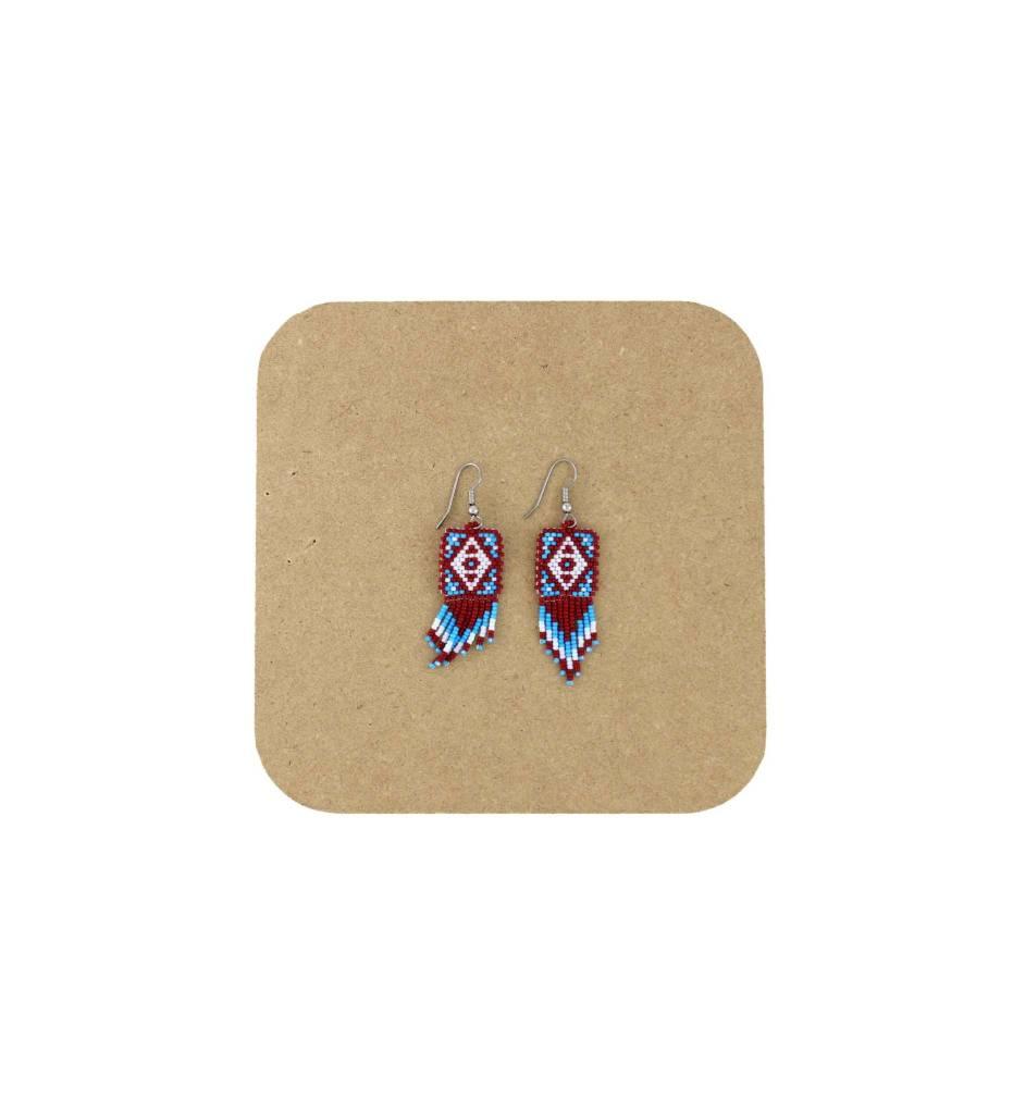 *AB Red, White, Blue Diamond Shape Beaded Earrings