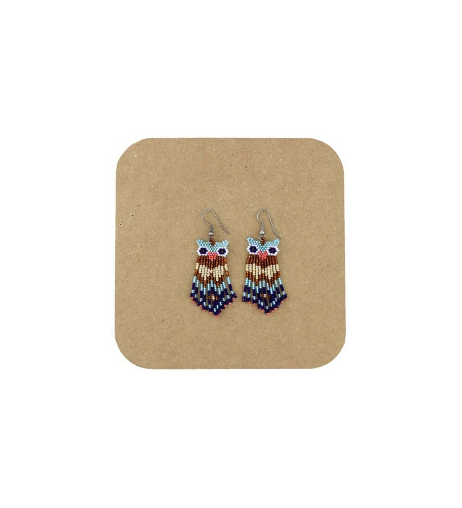 *AB Various Color Beaded Owl Earrings