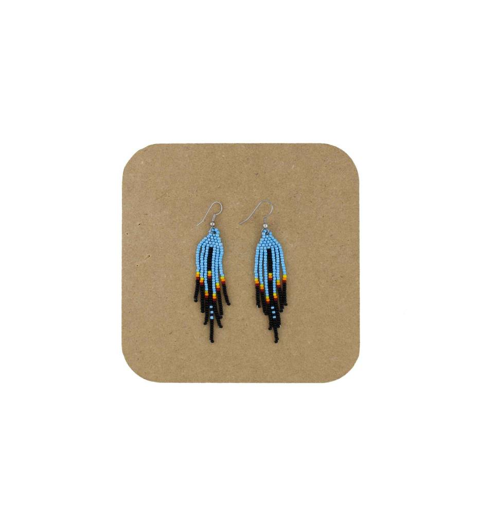 *AB Black, Blue Long Fringe Beaded Earrings