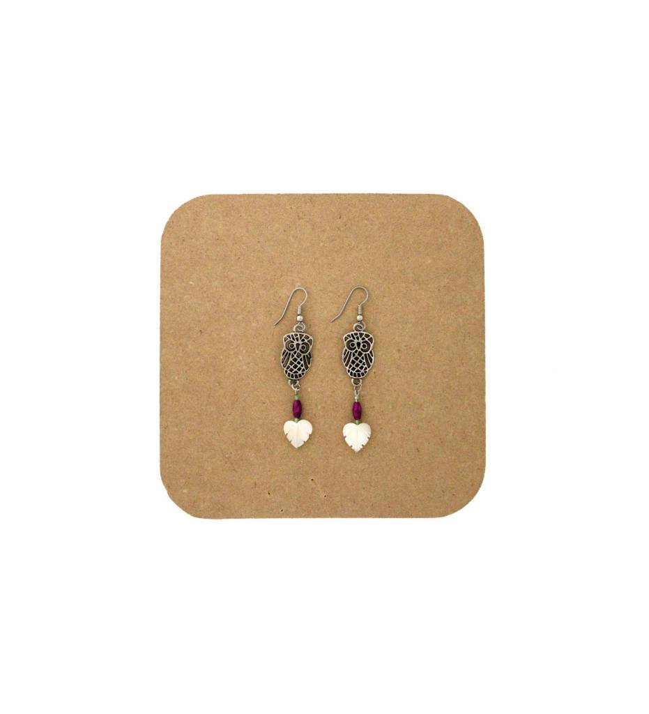 *AB Metal Owls w/White Heart Shape Leaf Earrings