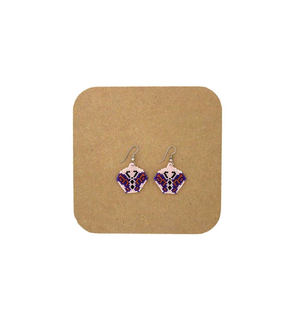 *AB Pink & Purple Beaded Butterfly Earrings