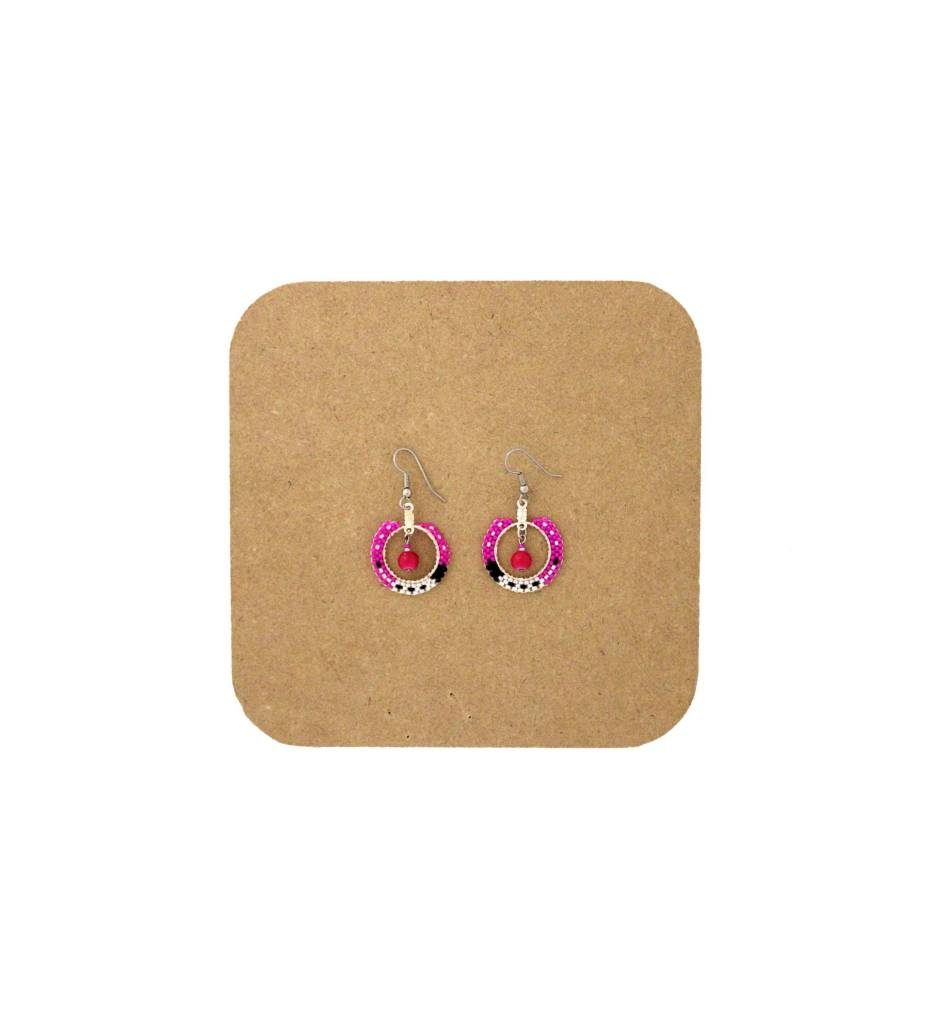 *AB Pink, White, Black Round Beaded Earrings with Fringe