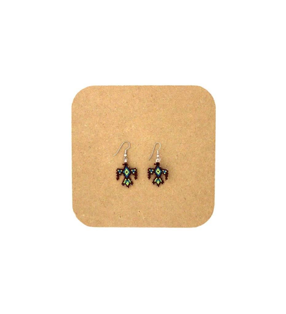 *AB T-Bird Beaded Earrings Brown, Green, Blue