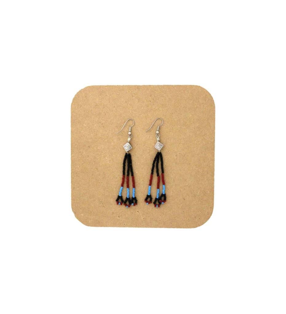 *AB Black, Red, Blue, Long String Beaded Earrings