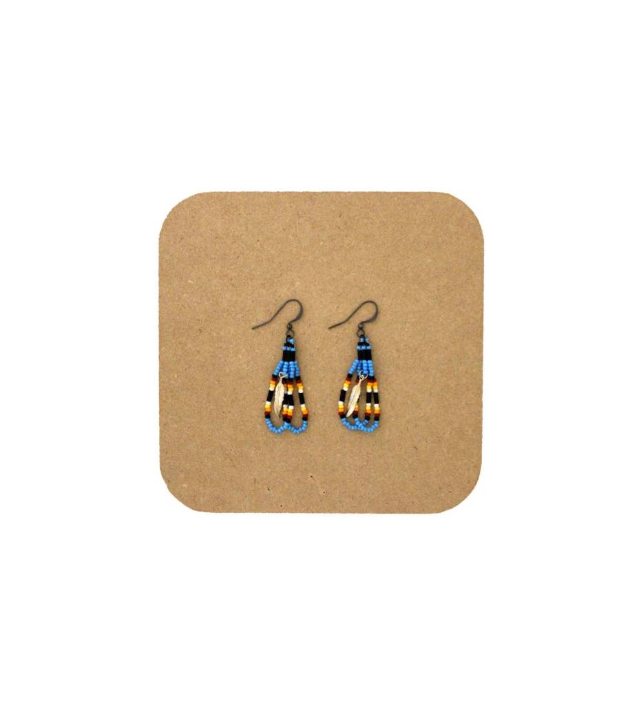 *AB Blue, Black, Yellow with Gold Feather Looped Beaded Earrings