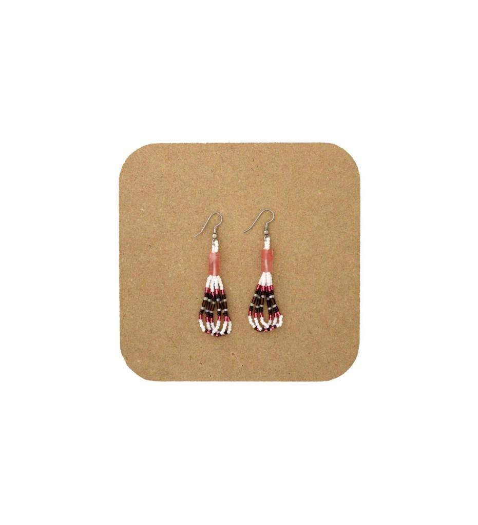 *AB Pink, White, Brown Looped Beaded Earrings