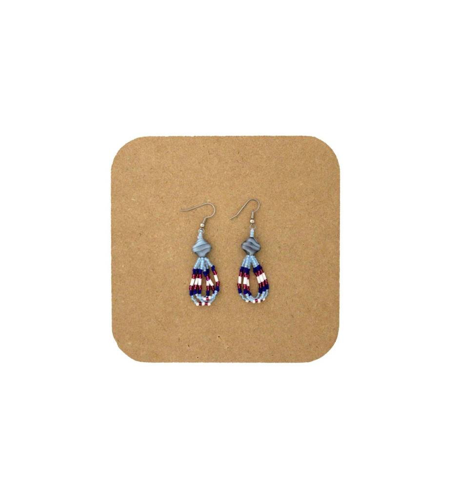 *AB Light Blue, Pink, White 3 Looped Beaded Earrings