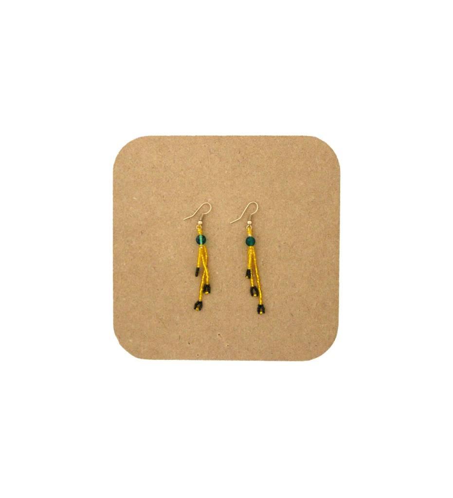 *AB Yellow, Green, Black 3 String Beaded Earrings