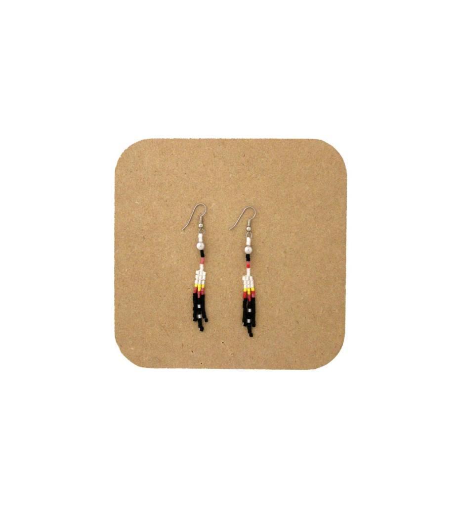 *AB Black, Red, White, Yellow 3-string Beaded Earrings