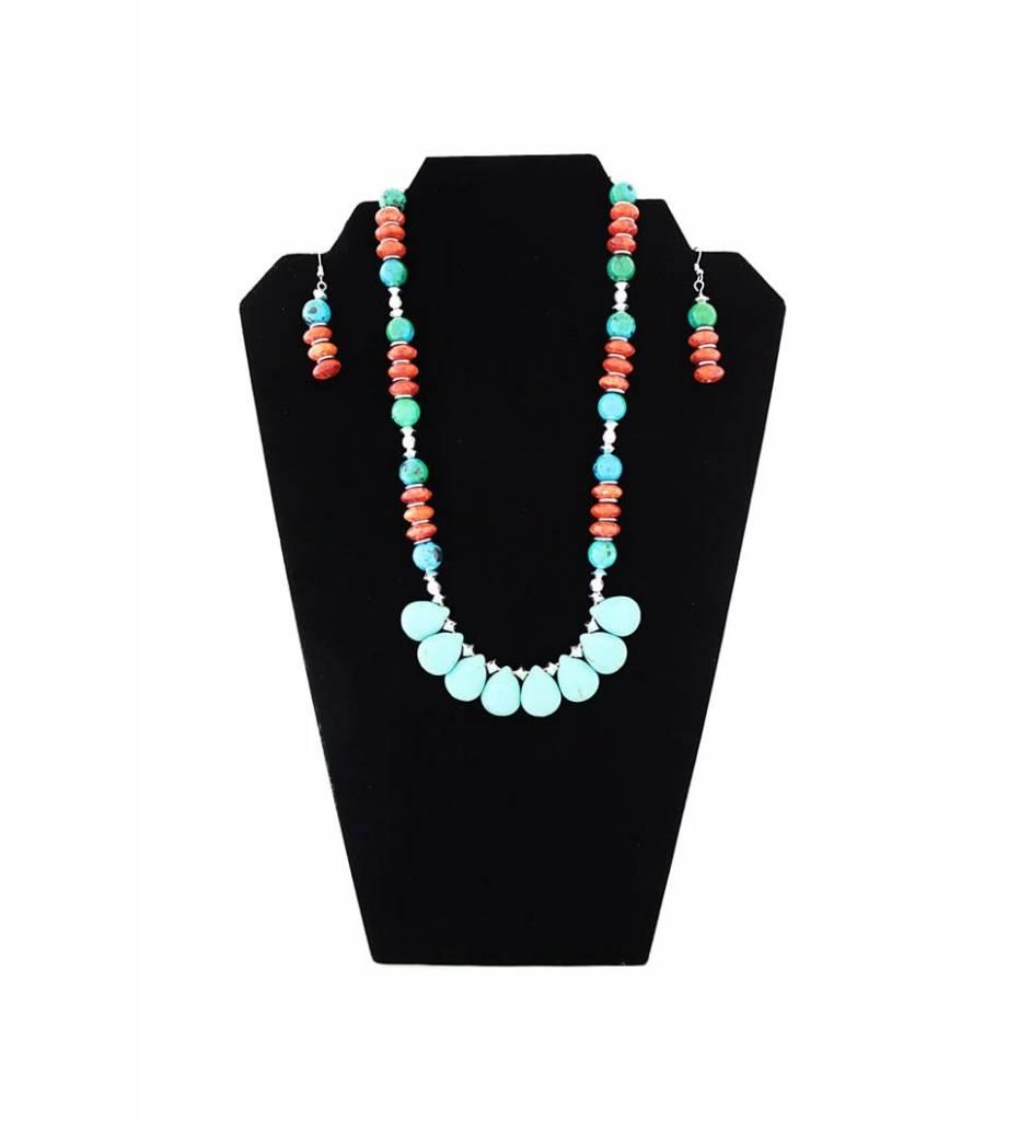 *JM Blue Green Jasper/Red Sponge Coral/Turquoise