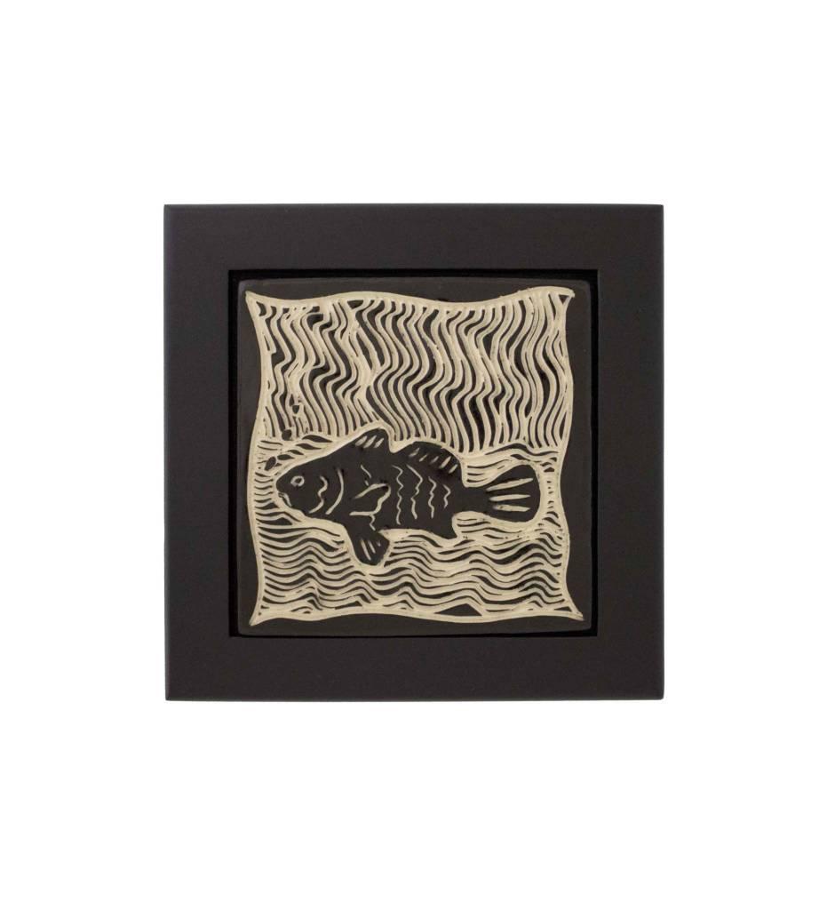 """*CBY 4'' Framed Tile """"Fish"""" Black & White"""