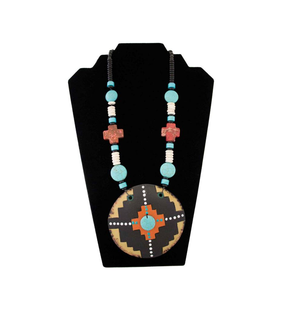 *KB Round Gourd/Red Crosses & Beaded Necklace