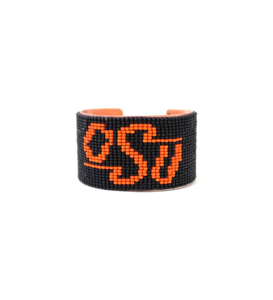 "*RS Beaded Cuff Bracelet ""OSU"""