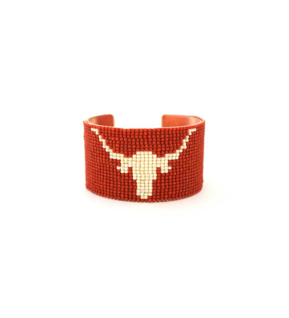 """*RS Beaded Cuff Bracelet """"Longhorn"""""""