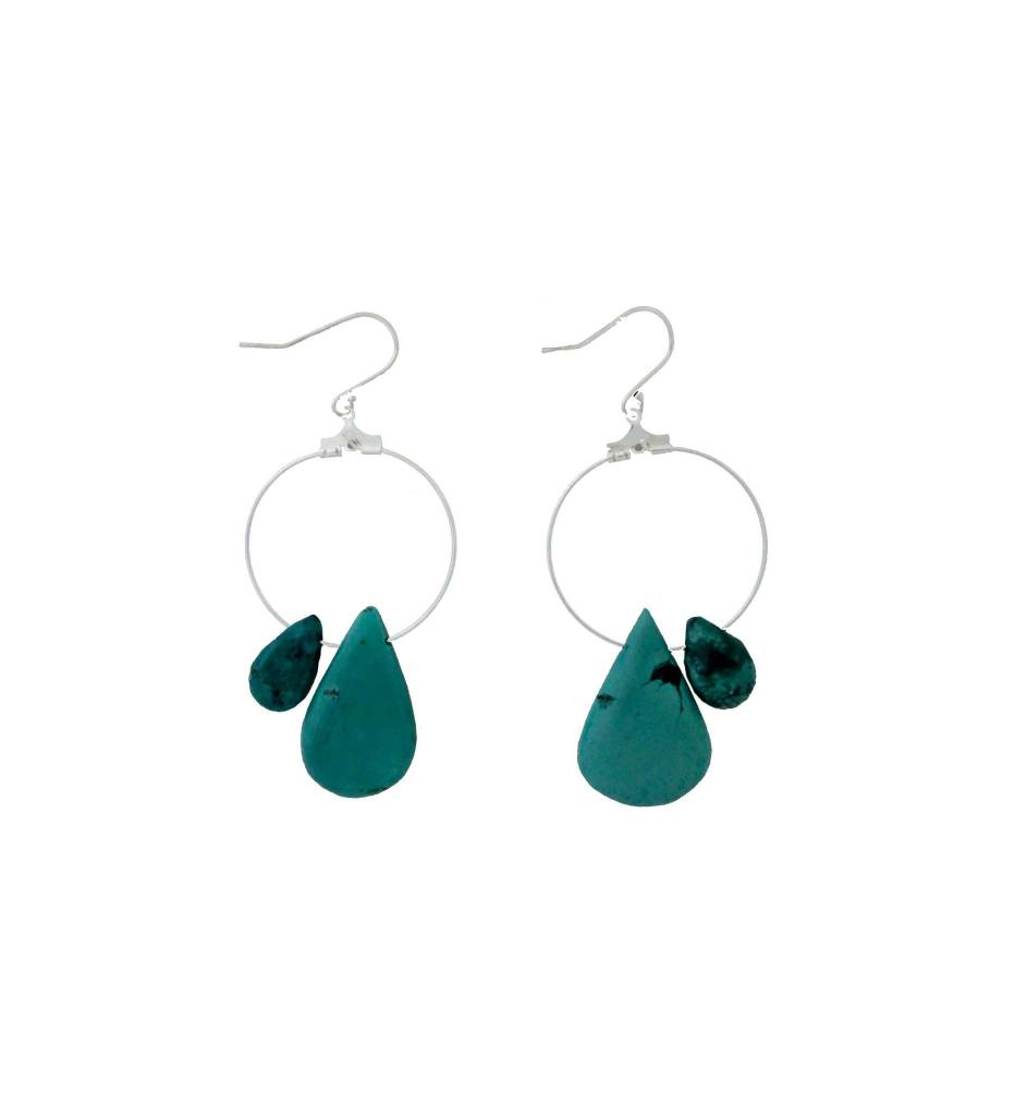 *RS Sterling Circle & Turquoise Drop Earrings