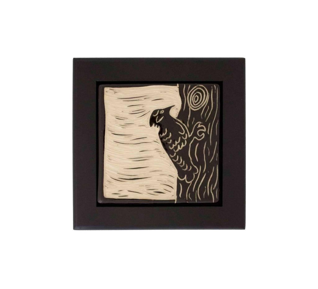 """*CBY 4"""" Framed Tile """"Woodpecker"""" Black & White"""