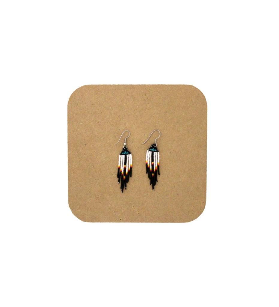*AB Black, White & Green Fringe Beaded Earrings