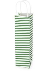 Kraft gift bag GREEN STRIPE