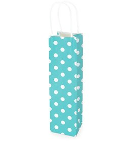 Kraft gift bag Blue with dots