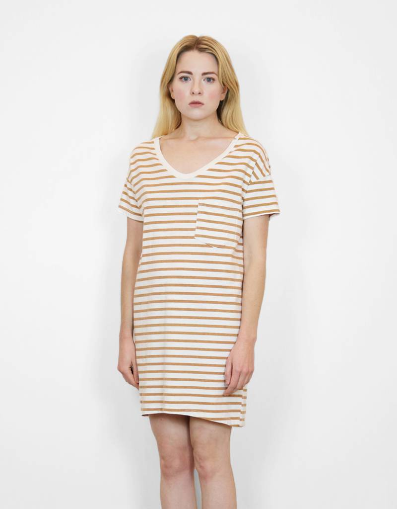 SkarGorn #60 Tee Dress in Camel Lines