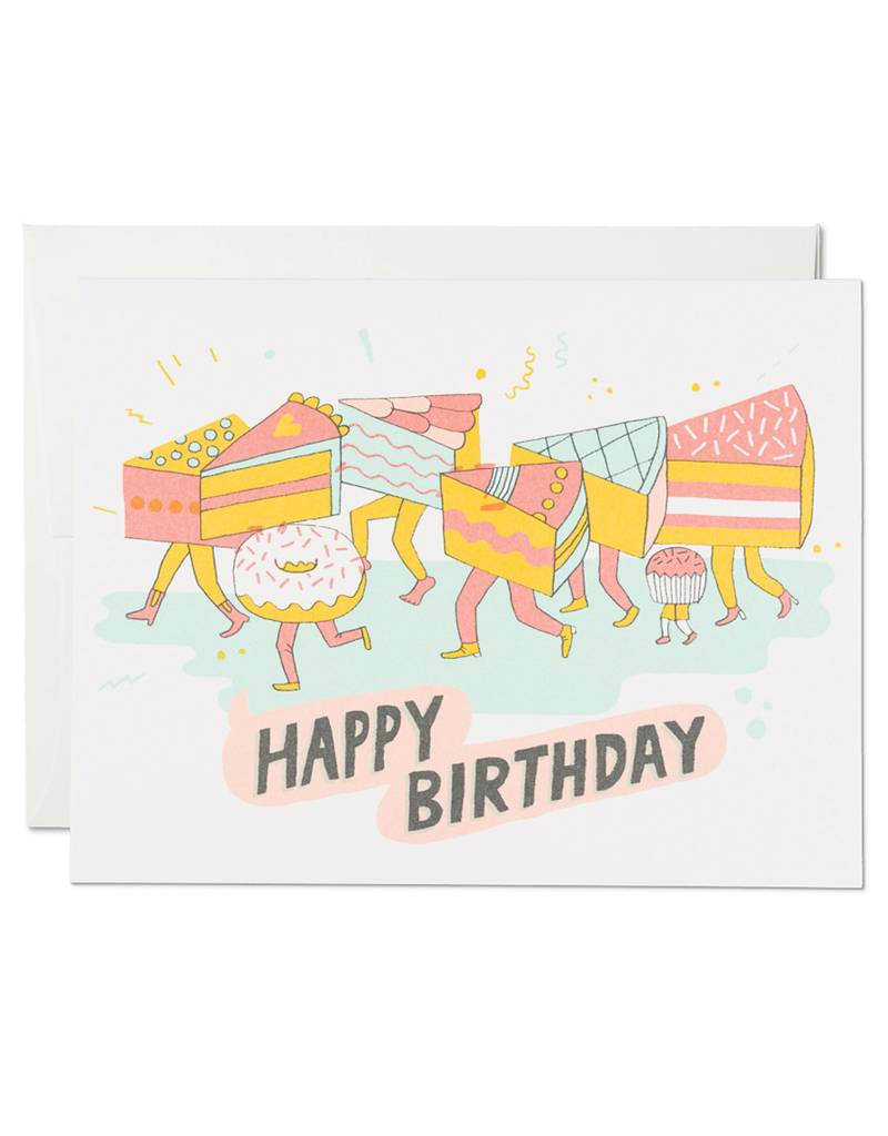 Red Cap Cards Cake Legs Birthday Card