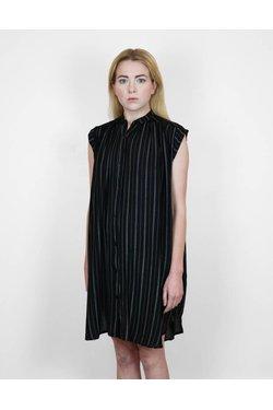Lilya Fallen Dress in Thin Black Stripe