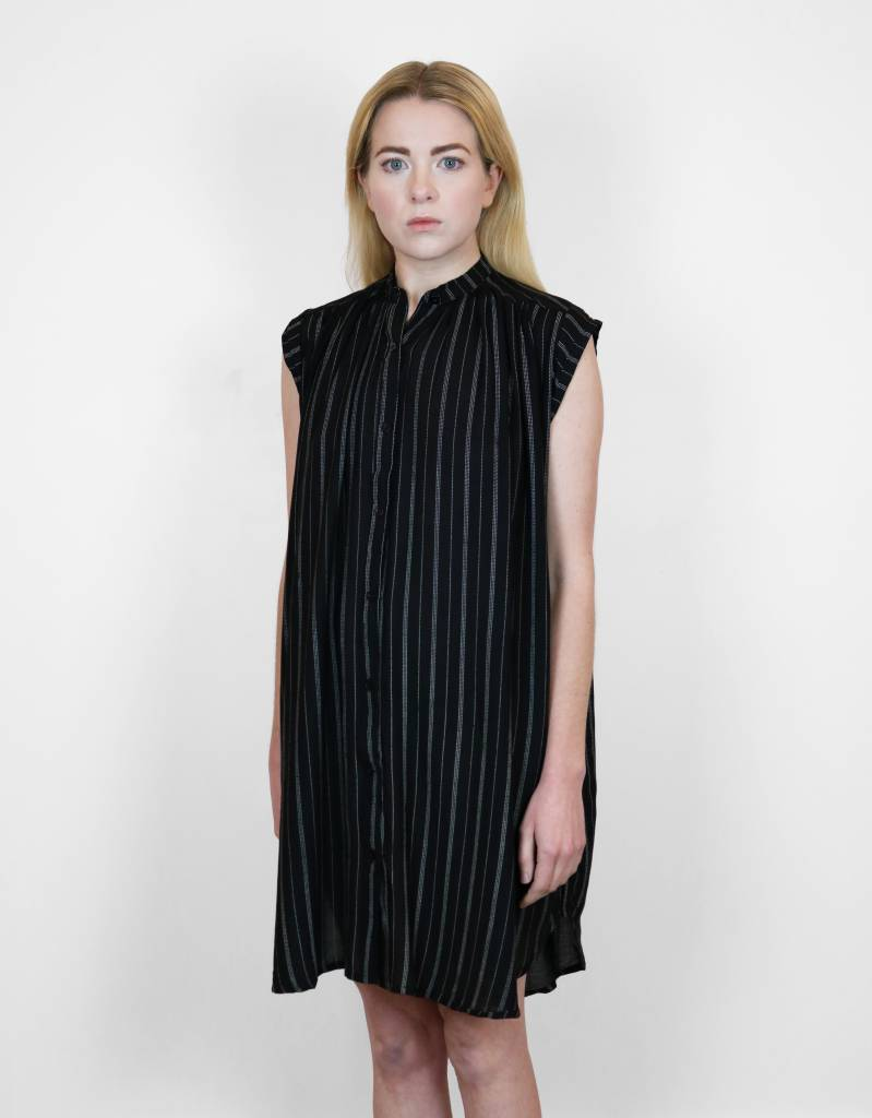 Lilya Fallen Dress in Thin Black Stripe