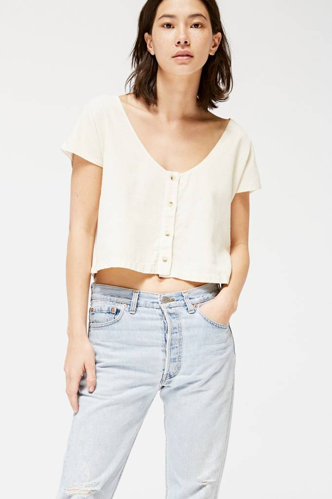 Lacausa Reversible Silk Top in Natural
