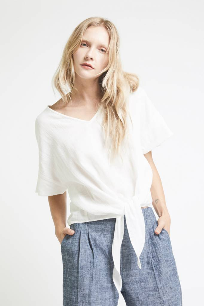 The Podolls Tie Top in White